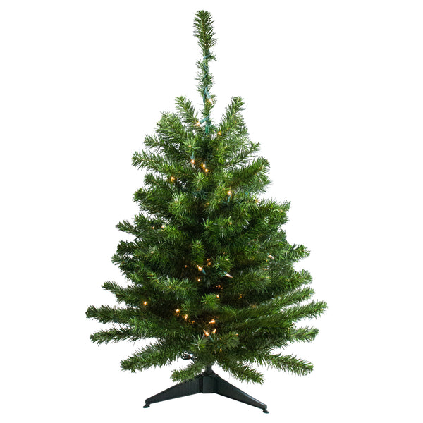 3' Pre-Lit Full Canadian Pine Artificial Christmas Tree - Clear Lights