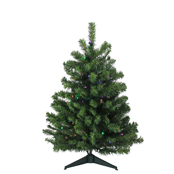 3' Pre-Lit Full Canadian Pine Artificial Christmas Tree - Multicolor LED Lights