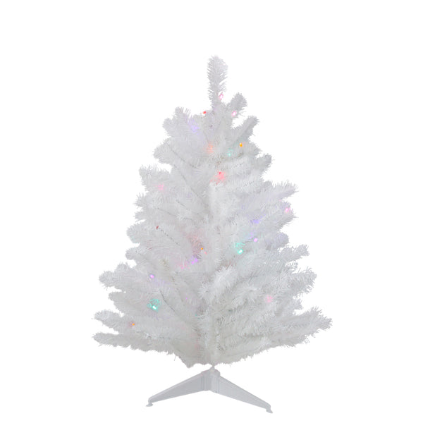 2' Pre-Lit Medium Frosted Artificial Christmas Tree - Multicolor Lights