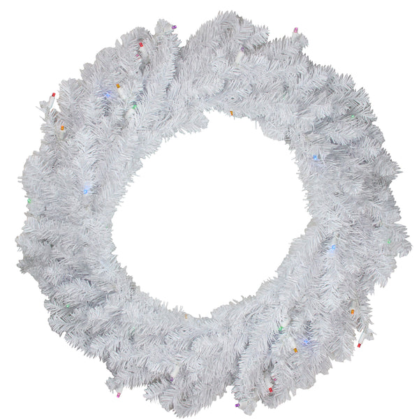 Pre-Lit Pine Battery Operated LED Artificial Christmas Wreath - 36-Inch, Multicolor Lights