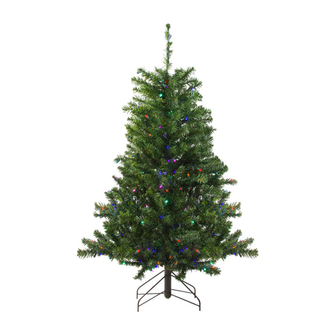 4' Pre-Lit LED Canadian Pine Artificial Christmas Tree - Multi Lights