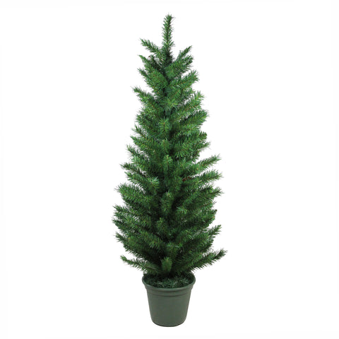 4' Potted Virginia Pine Walkway Slim Artificial Christmas Tree - Unlit