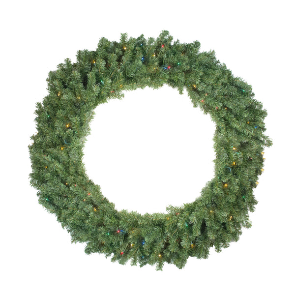 Pre-Lit Canadian Pine Artificial Christmas Wreath - 48-Inch, Multicolor Lights