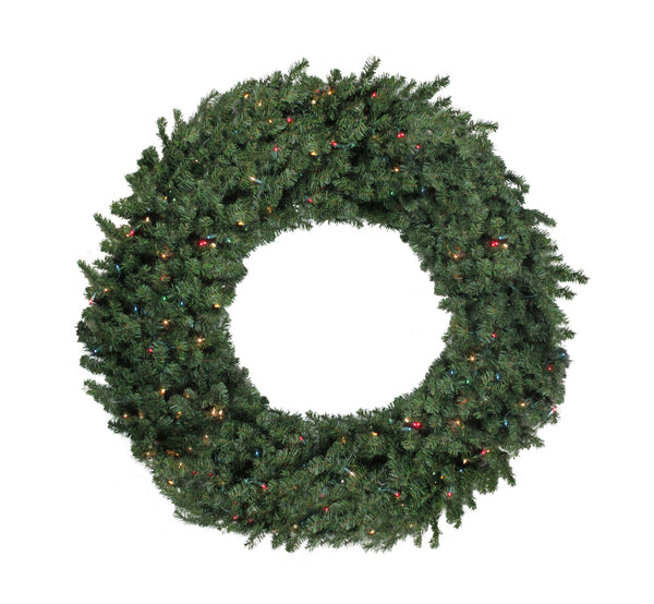 Pre-Lit Commercial Canadian Pine Artificial Christmas Wreath - 5-ft, Multi Lights