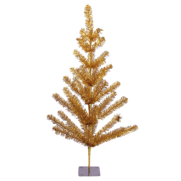 3' Medium Gold Tinsel Twig Pine Artificial Christmas Tree - Unlit