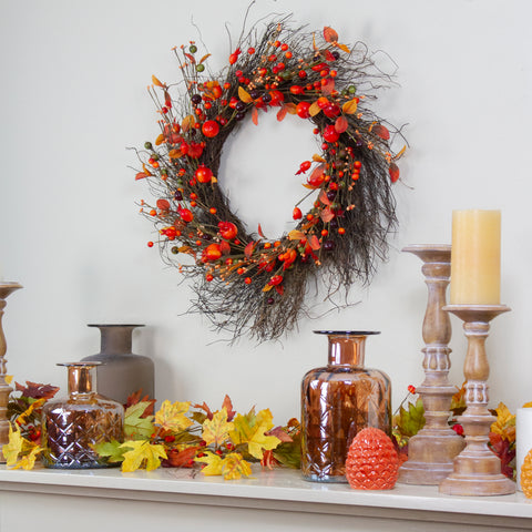 Leaves and Berries Artificial Fall Harvest Twig Wreath - 24 inch, Unlit