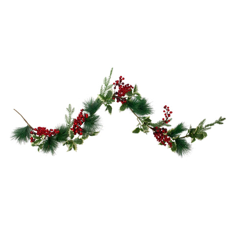 "5' x 5"" Holly and Pine Springs Artificial Christmas Garland - Unlit"