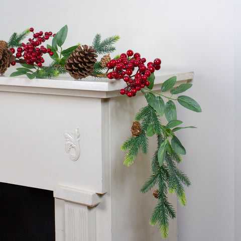 "5' x 4.75"" Pine Springs, Berries and Pine Cones Artificial Christmas Garland - Unlit"