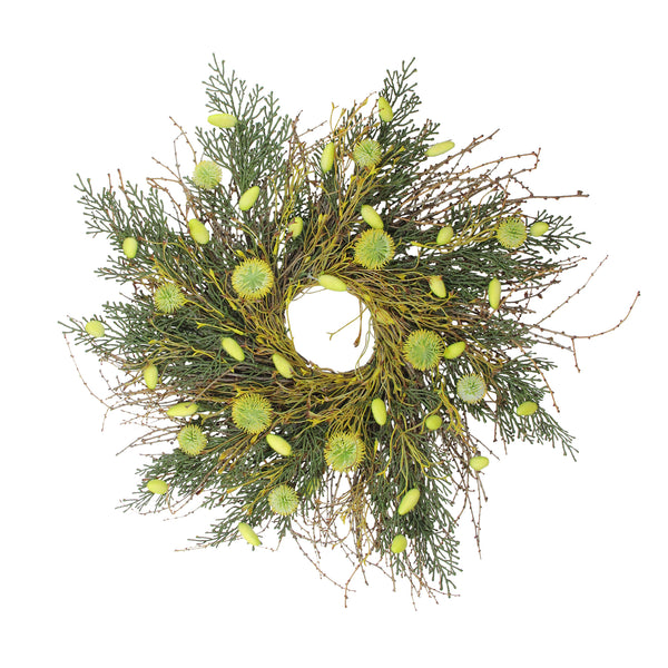 Burrs, Catkins, Leaves and Twig Artificial Spring Wreath, Yellow and Green 20-Inch