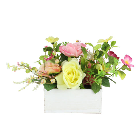 "16"" Pink and White Artificial Spring Floral and Foliage Arrangement in Planter"