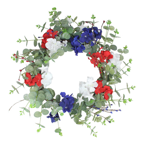 Patriotic Hydrangea Wreath with Foliage, Red, White and Blue 20-Inch