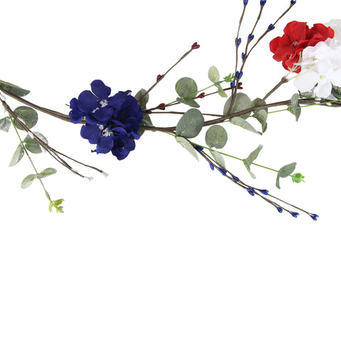 "5' x 5"" Red, White and Blue Patriotic Hydrangea Garland"