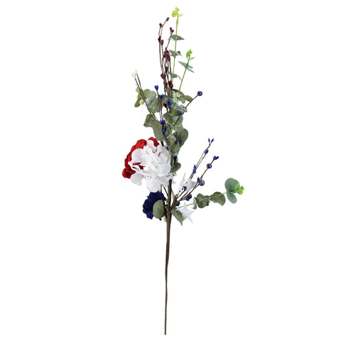 "27"" Red and White Fourth of July Patriotic Hydrangea Spray"