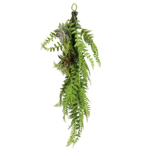 Assorted Leaves and Succulents Artificial Spring Tear Drop Swag, Green 28-Inch