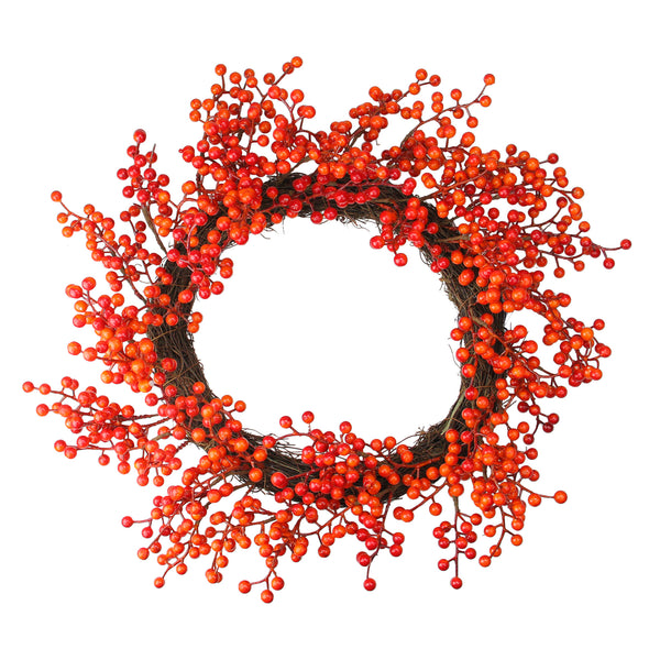 Red and Orange Artificial Berry Artificial Thanksgiving Wreath - 18-Inch, Unlit