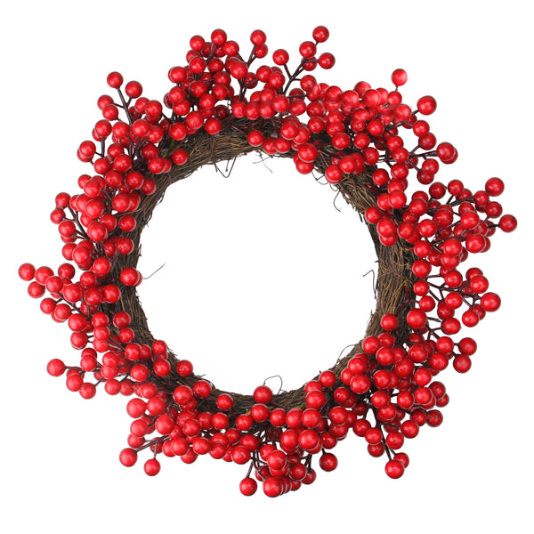 Crimson and Merlot Red Berries Artificial Winter Christmas Wreath - 16-Inch, Unlit