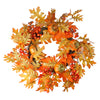 Fall Leaves, Pumpkins and Berries Artificial Thanksgiving Wreath - 19-Inch, Unlit