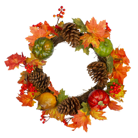 Leaves, Pine Cones and Pumpkins Artificial Fall Harvest Wreath - 20-Inch, Unlit