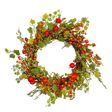 Apples and Berries Artificial Fall Harvest Wreath - 22 Inch, Unlit