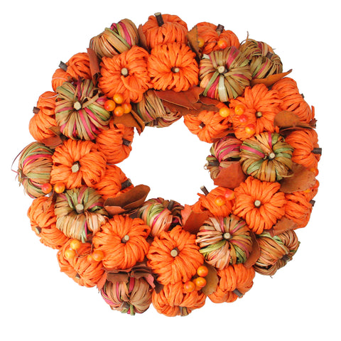 Autumn Harvest Woven Pumpkin Artificial Thanksgiving Wreath - 15 Inch, Unlit