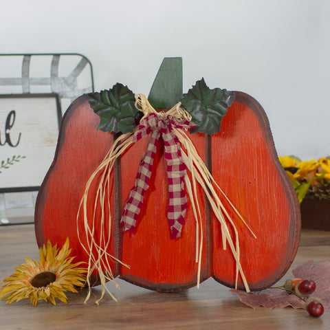 "10"" Green and Orange Fall Harvest Wood Pumpkin"