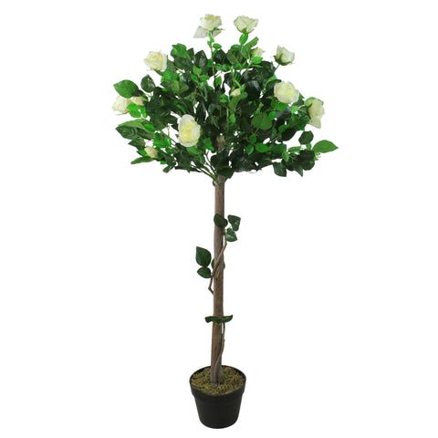 "49.5"" Potted Artificial White Floral Rose Garden Tree"