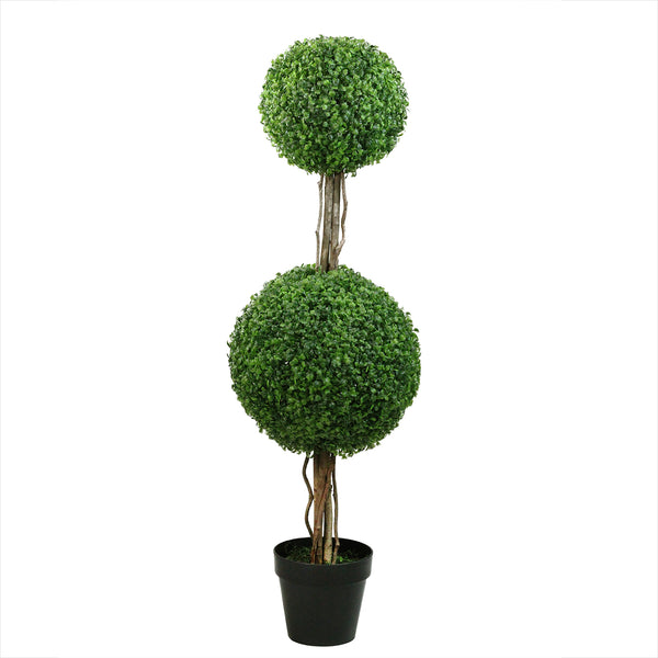 4' Potted Two Tone Green Double Ball Boxwood Topiary Artificial Garden Tree - Unlit