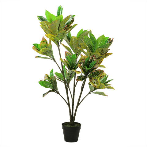"45.75"" Green, Yellow and Red Potted Artificial Croton Tree"