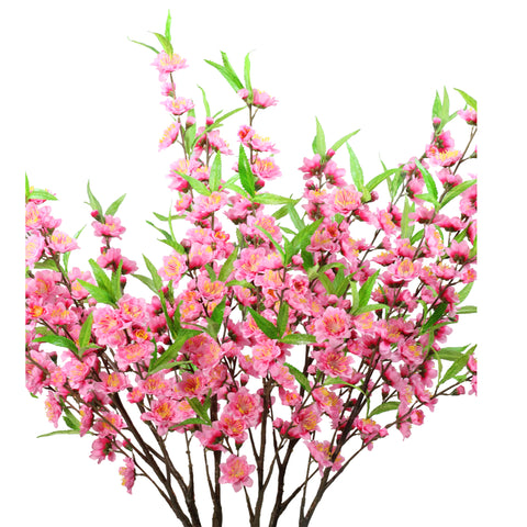 "43.5"" Potted Pink and Green Artificial Floral Peach Blossom Tree"