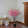"43.5"" Potted Pink and Green Floral Peach Blossom Artificial Christmas Tree - Unlit"