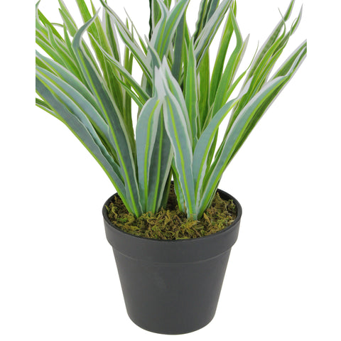 "13"" Green and Black Potted Two Tone Artificial Grass Plant"