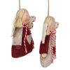 "Set of 2 Gray and Red Girl Angel Christmas Ornaments 3.5"" (89mm)"