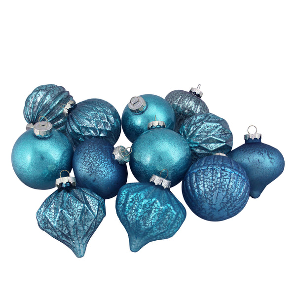 12ct Teal and Blue Vintage 3-Finish Christmas Ornaments 3.75-Inch (95mm)