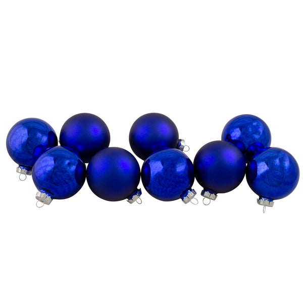 "9ct Royal Blue and Silver Glass 2-Finish Christmas Ball Ornaments 2.5"" (63.5mm)"