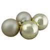 "4ct Champagne Gold 2-Finish Glass Christmas Ball Ornaments 4"" (100mm)"