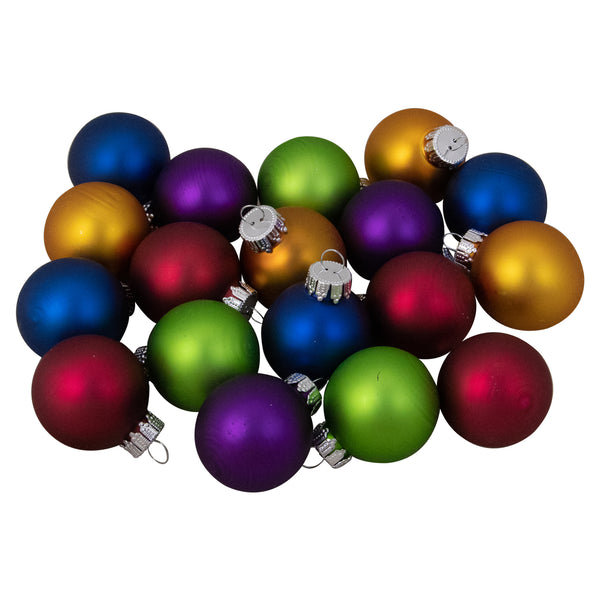 "18ct Multi-Color Matte Glass Ball Christmas Ornament Set 1.25"" (31.75mm)"