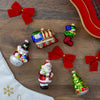 5ct Vibrantly Colored Festive Holiday Santa and Snowman Figurine Ornaments 3.5""