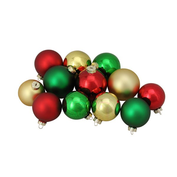 "72ct Red and Gold 2-Finish Glass Christmas Ball Ornaments 4"" (100mm)"