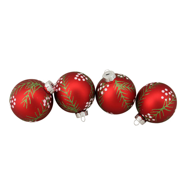 "4ct Matte Red with Pine Needles Glass Christmas Ball Ornaments 3.25"" (80mm)"