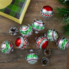 9ct Shiny Silver with Red and Green Glitter Striped Vintage Christmas Ornaments 2.75 (55 mm)