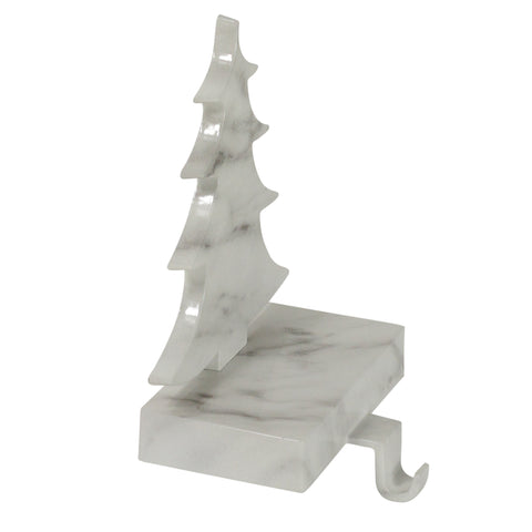 "8"" Black and White Marbled Tree Christmas Stocking Holder"