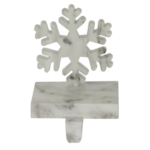 "7.25"" Black and White Marbled Snowflake Christmas Stocking Holder"
