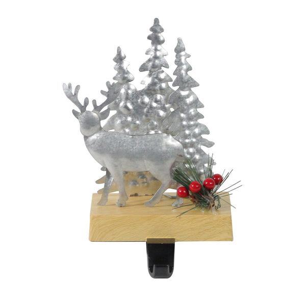 "8.5"" Silver and Brown Galvanized Metal Deer with Trees Christmas Stocking Holder"