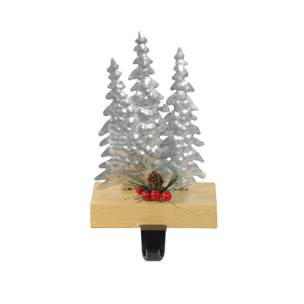 "8.5"" Silver and Red Wooden Christmas Trees Stocking Holder"