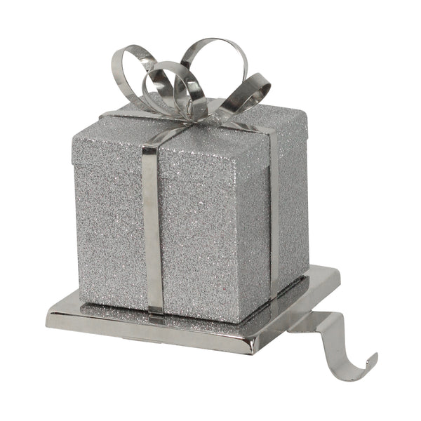 "6"" Silver Glittered Gift Box with Bow Christmas Stocking Holder"
