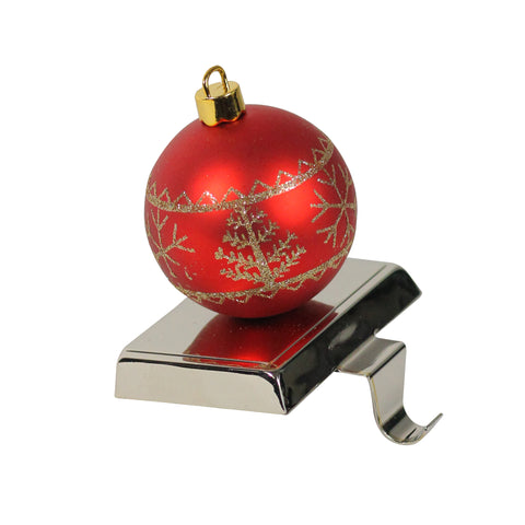 "5.5"" Red and Gold Christmas Ball Ornament Shaped Stocking Holder"