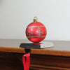 "5.5"" Red and Gold Snowflake and Christmas Tree Ball Ornament Stocking Holder"