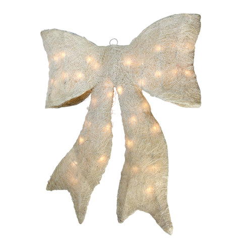"24"" Pre-lit Sparkling Cream Sisal Bow Christmas Decoration"