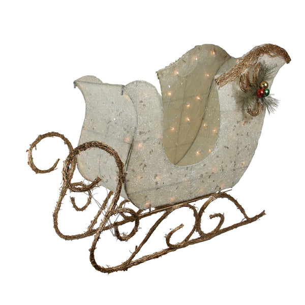 "39"" Ivory and Brown Sisal Sleigh Outdoor Christmas Decoration"
