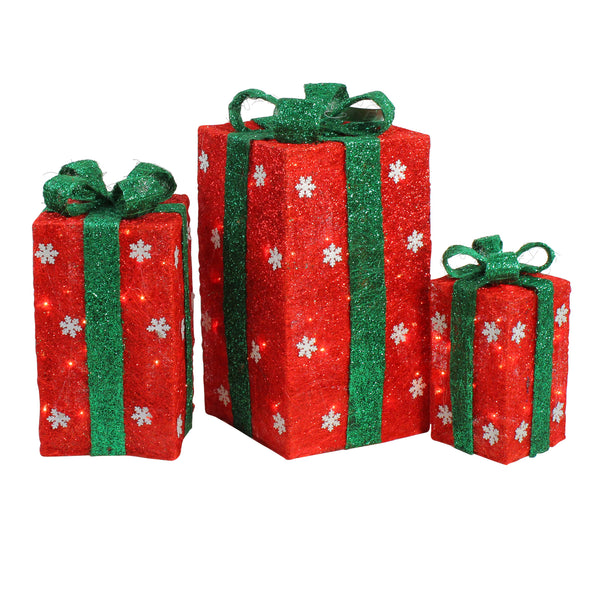 Set of 3 Red and Green Lighted Gift Boxes with Bows Outdoor Christmas Decorations 18""